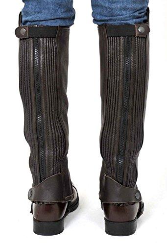 Riders Trend Narbenleder-Gamasche mit zwei Stretchbahnen schwarz - braun