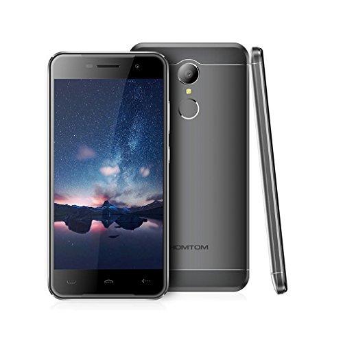 "Smartphone Libres Baratos, HOMTOM HT37 Moviles Android 6.0 de 5.0"" Full HD (3G, 2GB RAM + 16GB ROM, 8.0MP + 2.0MP Cámara, Altavoces Dobles, Luces de Respiración, Dual-SIM, Huella Digital) (Gris)"
