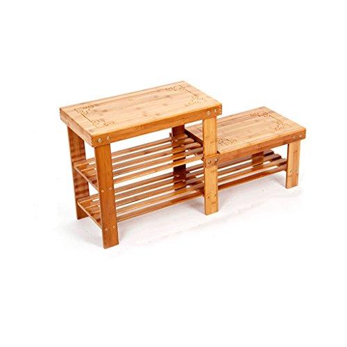 Garderobenschränke Einfache Schuhkarton Mehrere Ebenen Speicher Schuh Rack Hoch und Niedrige Massiv Holz Fußbank Hocker Wechseln Schuh Hocker Möbelschrank-WXP (Farbe : A)