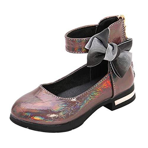 Yefree Mädchen Fette Schuhe Prinzessin Tanzparty Kleid Schulparty Ballerina Blinkender Bogen Niedriger Schnitt Weiche Sohle Erbsen Schuhe