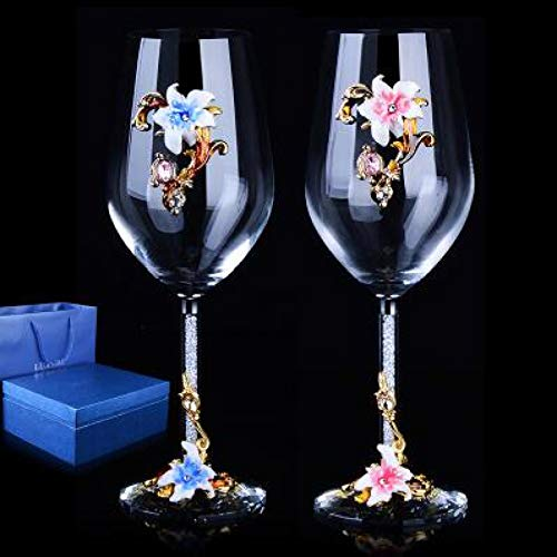 Hjb 1 paio europeo di alta qualità creativo smalto cristallo/calice vino rosso con diamante/regalo di nozze di cristallo cup-c