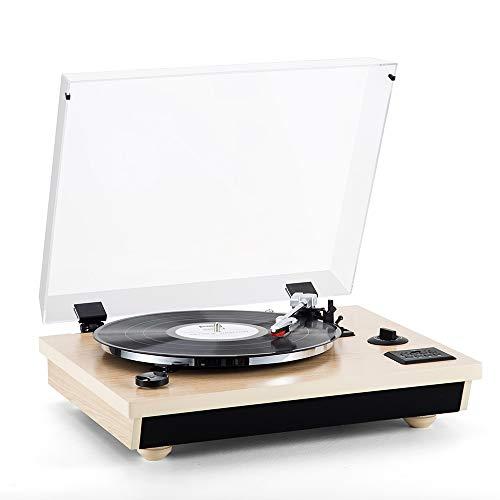 Platine Vinyle - MC-262 SHUMAN, Platine Vinyle Bluetooth à Trois Vitesses, USB ,RCA , Haut-parleurs Stéréo Intégrés , Fonction d'enregistrement (Chêne)