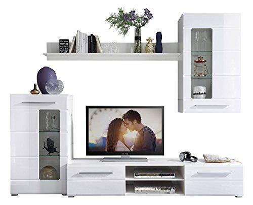 Wohnwand Anbauwand Wohnzimmerschrank 4-tlg. ELLA | Weiß Hochglanz | Verglasung - 2