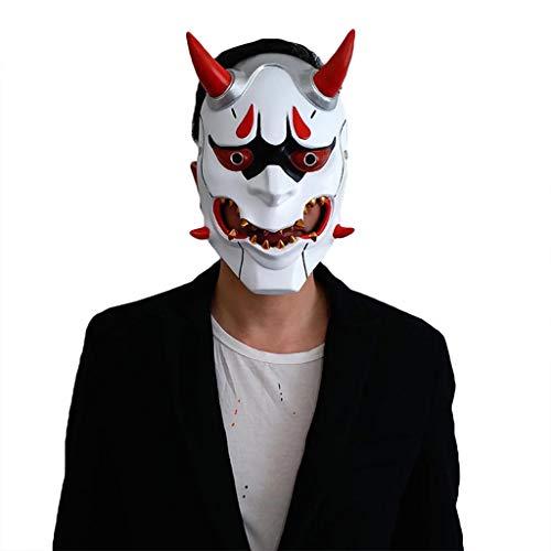 weiße Hannya Maske Halloween Horror Teufel Cosplay Maske Buddhismus Prajna Ghost Traditionelles Thema Party Harz Japanische Krieger Masken,White-OneSize ()