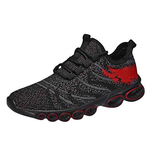 CUTUDE Herren Laufschuhe Air Atmungsaktives Turnschuhe Mesh Slip Outdoor Schuhe Sneakers Wilde Freizeitschuhe (Rot, 43 EU)