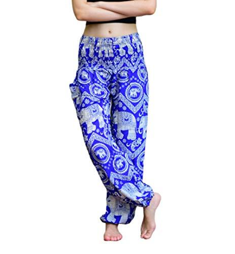 Bohotusk Pantalones de harén Bohemio para niños, Cintura elástica, Estilo Hippy Bohemio, Pantalones Hippie para Festival, donación Hecha a Elefante Santuario Azul Blue Elephant Paradise 6-8 años