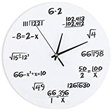 Fdit Orologio da Parete in Acrilico Matematico Creativo Disegno Orologio a  Muro Decorazione per Aula Casa