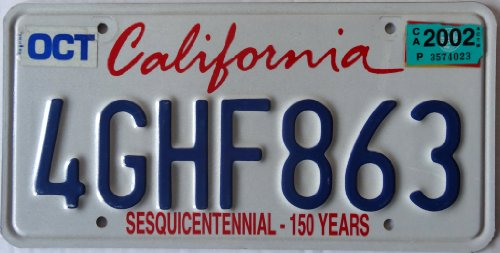 USA Nummernschild CALIFORNIA 150 YEARS ~ US Kennzeichen Kalifornien ~ Blechschild