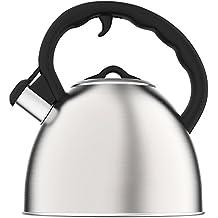 Vremi Whistling Tetera para Estufa - Tetera de 2 litros Caldera de té de acero inoxidable para estufa eléctrica o de gas - Moderna y atractiva Tetera Agua Caliente Silbadora - Plata