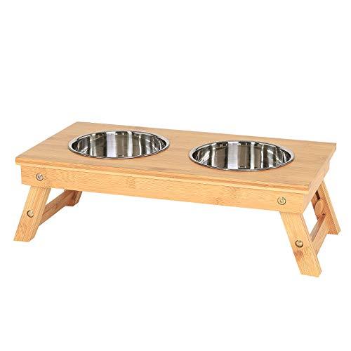 dibea HN00515 Hundenapf, Futterstation, Futterbar, Napfgestell für Haustiere, Bambus
