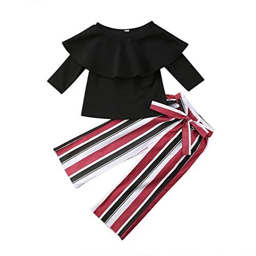 JHDghd Baby Mädchen Langarmshirt + gestreifte Bell-Bottoms 90 cm Farbe Bell-bottom-jumpsuit