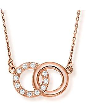LillyMarie Damen dezente Halskette Sterlingsilber original Swarovski Elements Doppelkreis-Anhänger rosegold längen-verstellbar...