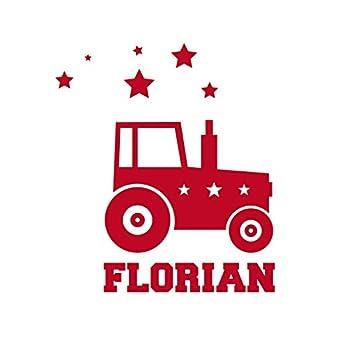 SupaRina Aufbügler Bügelbild Applikation Traktor in Deiner Wunschfarbe mit Namen oder Text, 10-20 cm