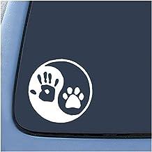 TOOGOO(R) Yin Yang humanos mano adhesivo portatil coche portatil de huella de perro 6 pulgada (blanco)
