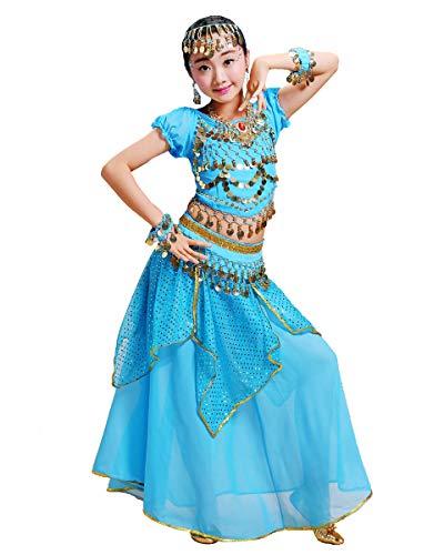Grouptap Bollywood Girls Indian Princess Arabian Belly Dance Wear Disfraz de Fiesta Elegante Vestido de Falda Azul niños niños Traje de Bailarina (Azul, 105-130 cm)