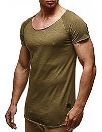 LEIF NELSON Herren T-Shirt Tiefer Rundhalsausschnitt   Basic Shirt Kurzarm Oversize   Männer T-Shirt lang