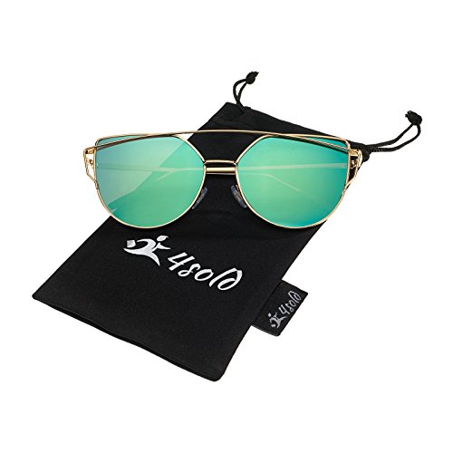 4sold Katzenauge Metall Rand Rahmen Damen Frau Mode Sonnenbrille Verspiegelt Linse Women Sunglasses mit Gold Rahmen Rosa Linse (Green)
