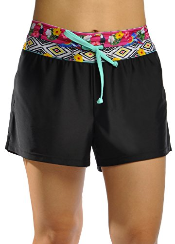 OUO Womens Adjustable Drawstring Boy Style Swim Shorts