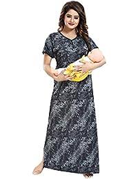 LIFE-TALE® Women's Sarina Feeding/Maternity Nighty/Night Gown/Nightwear (Size;Free,Length:54,Bust:42)