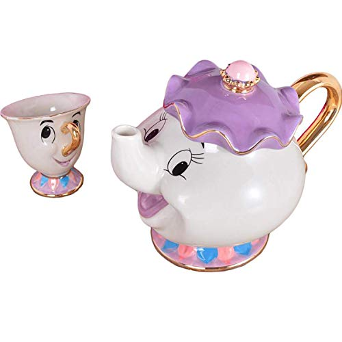 New Cartoon bella e la Bestia teiera tazza Mrs Potts chip Tea pot Cup One set regalo Qvbokay