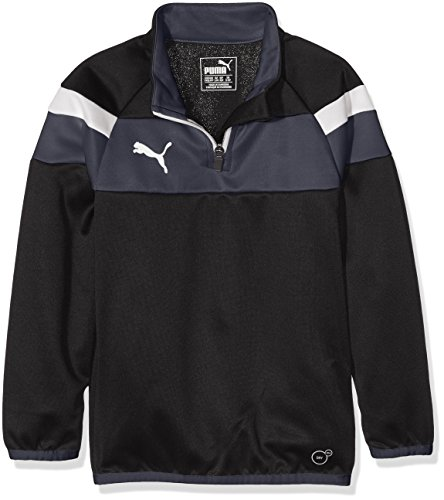 PUMA Kinder Langarm Shirt Spirit II 1/4 Zip Training Top, Black-White, 164, 654657 03