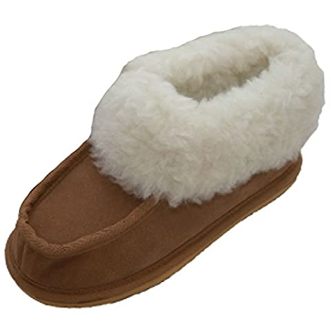Ladies Hard Sole British Lambswool (wool-mix) Slippers - Fur Lined Chestnut Brown (3)
