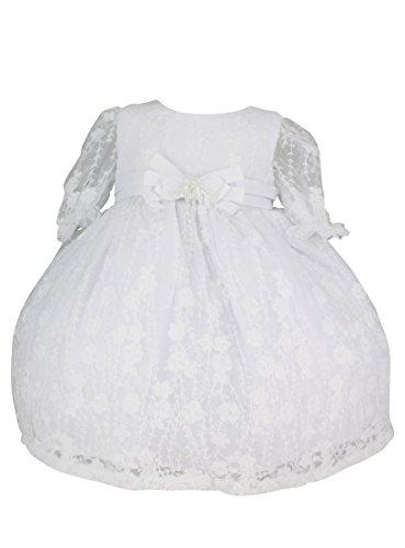 f3737134394bd Boutique-Magique Robe de baptême Blanche bébé Fille Manches Longues et  bordée