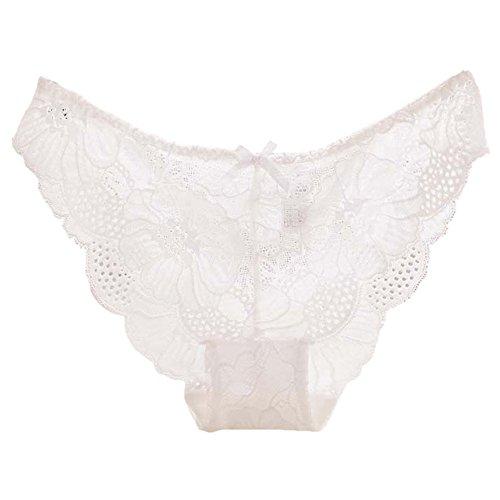 KonJin Damen Baumwolle Dessous Unterwäsche Packung Wäsche Unterkleidung Strings mit zarter Spitze und hautfreundlicher Baumwolle