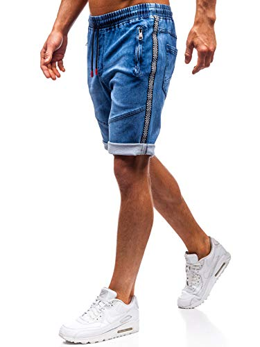 BOLF Hombre Pantalón Corto Pantalones Vaqueros Denim Regular Pantalón de Algodón Red Fireball HY186 Azul Oscuro M [7G7]
