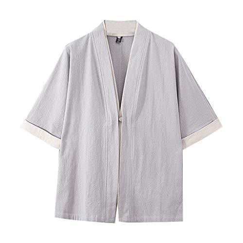 FRAUIT Herren Retro Lose T-Shirt Cardigan Kurz Robe Strickjacke Slim Fit Sommer Baumwolle Hemd Oberteil Weich Atmungsaktiv Bequem Kleidung
