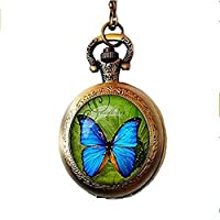 xinzhahi Beautiful Butterfly Pocket Watch Necklace Glass Cabochon Jewelry for Women Gift
