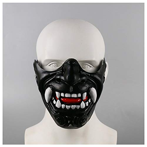YaPin Neuheit Halbes Gesicht Prajna Samurai Ritter Maske Halloween Weihnachten Requisiten Horror Teufel Maske Zeigen Dress Up Cos (Color : Black)