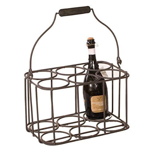 Varia Living Flaschenkorb mit Griff Sandrigo aus Metall in schwarz 6 Flaschen | moderner Flaschenträger | Flaschenhalter Aufbewahrung | wertige Flaschentasche für viele Größen -