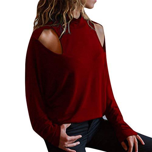 Kostüm Meeräsche - SHE.White Langarmshirt Damen Elegante Cold Shoulder Rollkragen Oberteile Frauen Sexy Langarm Blusen Einfarbig T-Shirts Top Pullover