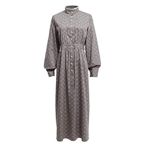 Viktorianischen Kostüm Adult - GRACEART Pionier Damen Kostüm Prärie Kleid Dienstmädchen Mädchen Kostüm Einteiliges Viktorianische Zofe (Grau(Reine Baumwolle), X-Large)