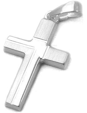 Unbespielt Kettenanhänger Silberanhänger für Halskette Religion Unisex Kreuz diamantiert Silber 20 x 12 mm inkl...