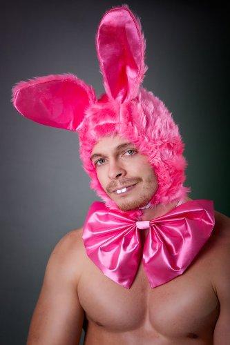 Hasen Mütze mit Schleife / Fliege pink Einheitsgröße Mottoparty Junggesellenabschied Paintball Kostüm (Paintball Kostüm)