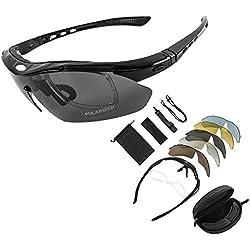 KT SUPPLY Gafas de Sol Deportivas Polarizadas TR90 incluye 5 tipos de lentes intercambiables (Negro)