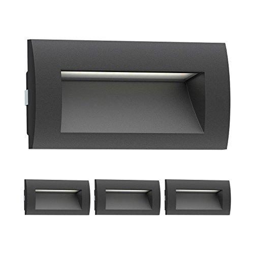 ledscom.de LED Wandleuchte Zibal, Outdoor, schwarz, warm-weiß, 140x70mm, 4 Stk. Wand-montiert Beleuchtung