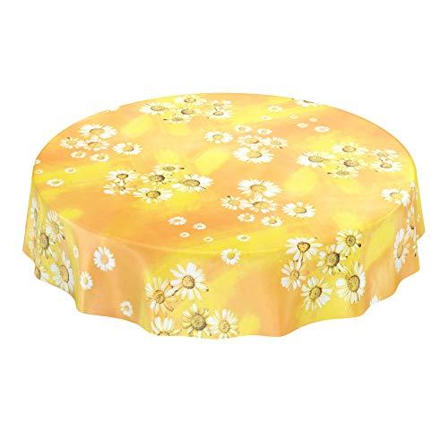 ANRO Wachstuchtischdecke Wachstuch Wachstischdecke Tischdecke Kamille Gelb Blumen Sonne Rund 120cm