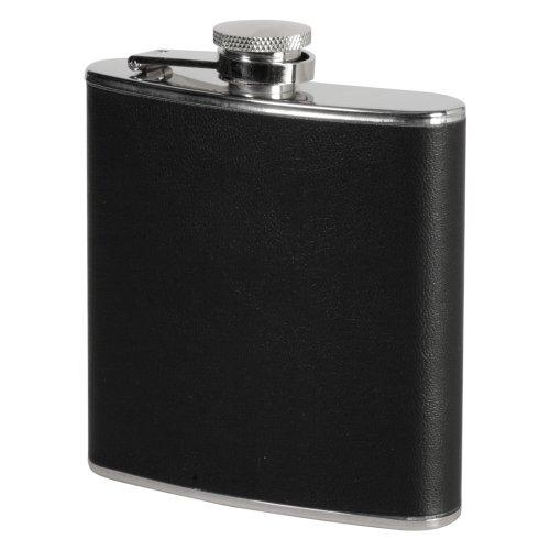 Flasque en inox de 18 cl, revêtement en similicuir noir