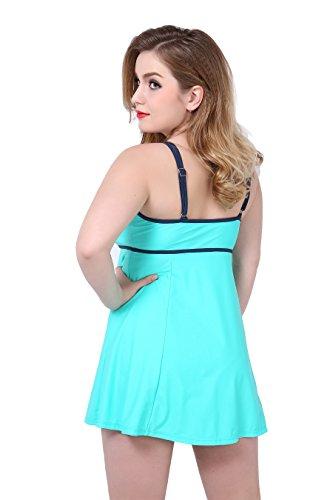 Tuopuda Damen Badeanzug Kleid Einteiler Große Größen Bademode Badekleid Tankini Grün