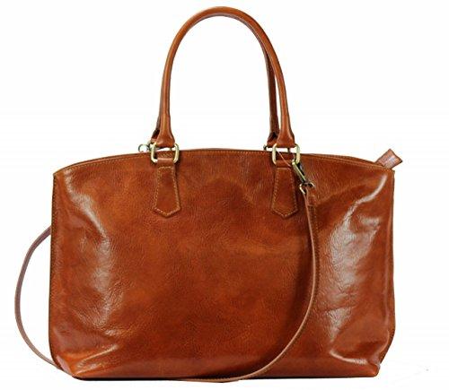 Luxus Aktentasche Aus Leder (BZNA Bag Ina Cognac Italy Business Luxus Büro Designer City Ledertasche Damen Aktentasche Handtasche Schultertasche Tasche Leder Shopper DIN A4 Neu)