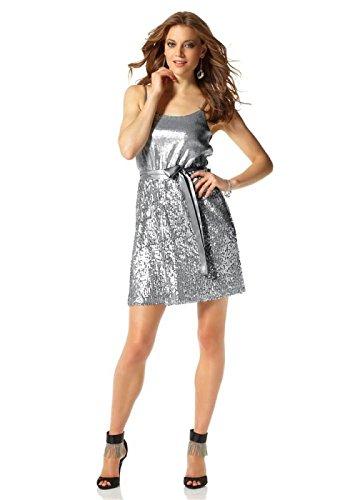 Laura Scott Evening Damen-Kleid Paillettenkleid Silber Größe 40