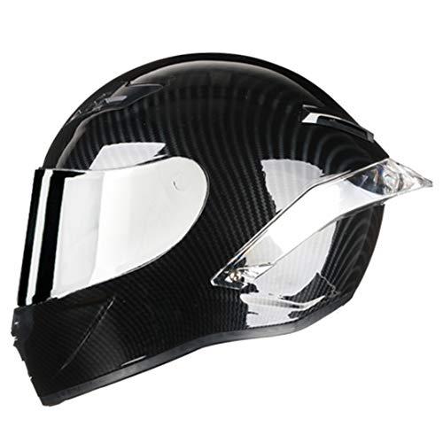 KeRuiLou Casco da Motociclista da Strada con Casco Integrale in Fibra di Carbonio Chrome Sliver3 L