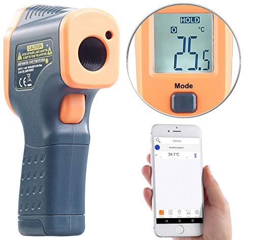 AGT Temperaturmessgerät: Profi-Infrarot-Thermometer mit Laser, -50 bis +600 °C, LCD, Bluetooth (Berührungsloses Thermometer) -