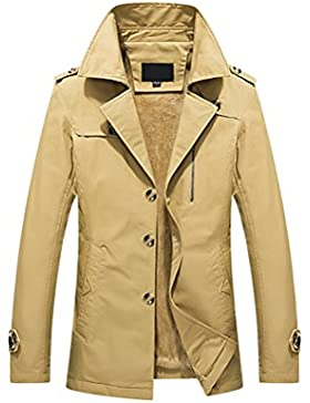 Zhhlinyuan ropa de calle Mens Winter Warm Outdoor Thicken Coat Jacket Faux Fur Lined M-5XL