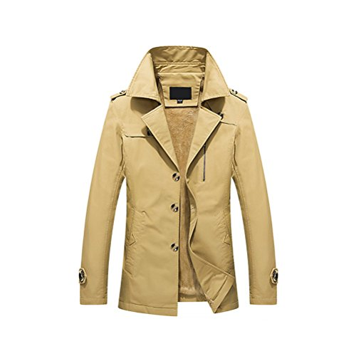 Zhhlinyuan Oberbekleidung Mens Winter Warm Outdoor Thicken Coat Jacket Faux Fur Lined M-5XL Yellow