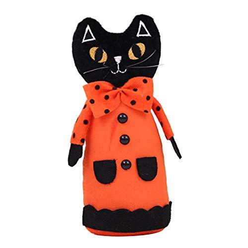 Landslide Halloween Ornamente Kürbis Schwarze Katze Puppen niedliche Muster Stofftier 1 Stück (Schwarze Katze) (Katze Schwarze Halloween-kürbisse,)