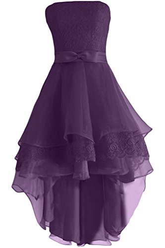 Gorgeous Bride Elegent Traegerlos Kurz A-Linie Satin Organza Spitze Cocktailkleid Festkleid Ballkleid Grape
